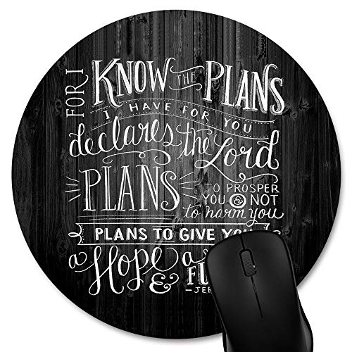 Knseva Round Mouse Pad Vintage Bible Verse Scripture Quote Jeremiah 29-11 Quotes on Rustic Old Wood, Black White Deadwood Texture Art Circular Mouse Pads