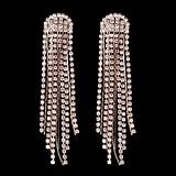 Kercisbeauty Unique Boho Halo Silver Rhinestones Tassels Earrings Studs with Rhinestones Dangles for Women and Girls,Bar,Party,Perfect Gift for Her,Birthday,Anniversary Gift,Daily (Silver)