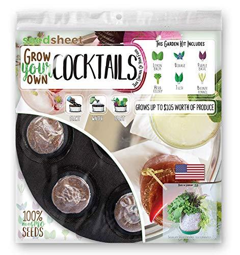 Grow Your Own Cocktail Garden Seedsheet - AS SEEN ON SHARK TANK - Fast-Growing Organic NonGMO Recipe Garden Kit