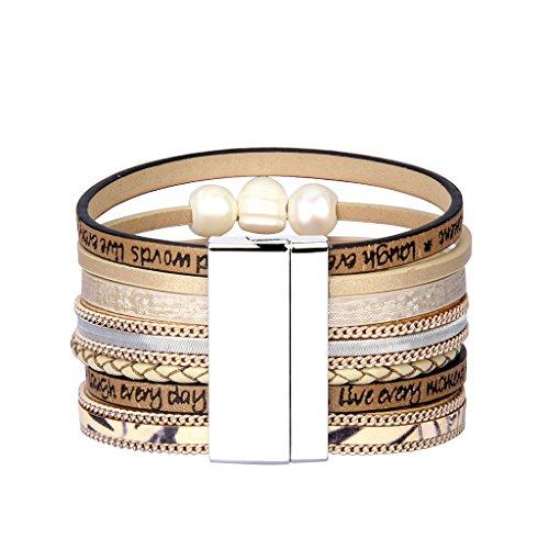 Jenia Tree of life Leather Cuff Bracelet Personality Engraved Braided Wrap Bangle with Pearl - Handmade Boho Jewelry for Women Kids Men Teens Girls Birthday Gift - Beige by Jenia (Image #3)