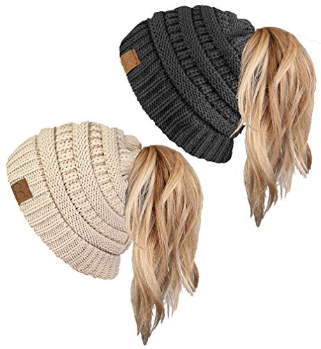 BT-6020a-2-6070 Solid Messy Bun Beanie Tail Bundle - 1 Beige, 1 Charcoal (2 Pack) ()