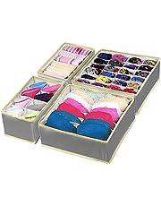 Punvot Förvaringslådor för underkläder, lådor organisatör underkläder sorteringssystem, lådor organiseringssystem vikbar bh arrangör kalsonger strumpor slipsar organiseringslåda tyglåda (grå)