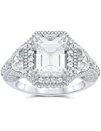 .925 Sterling Silver Lab Created White Sapphire Ring