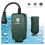 Remote Control Outlet ,DILISENS Outdoor Switch Wireless Outlet Socket Switch with Photocell Sensor, Weatherproof , 100 Feet Range , Great for Household Appliances- Army Green (1 Pack)
