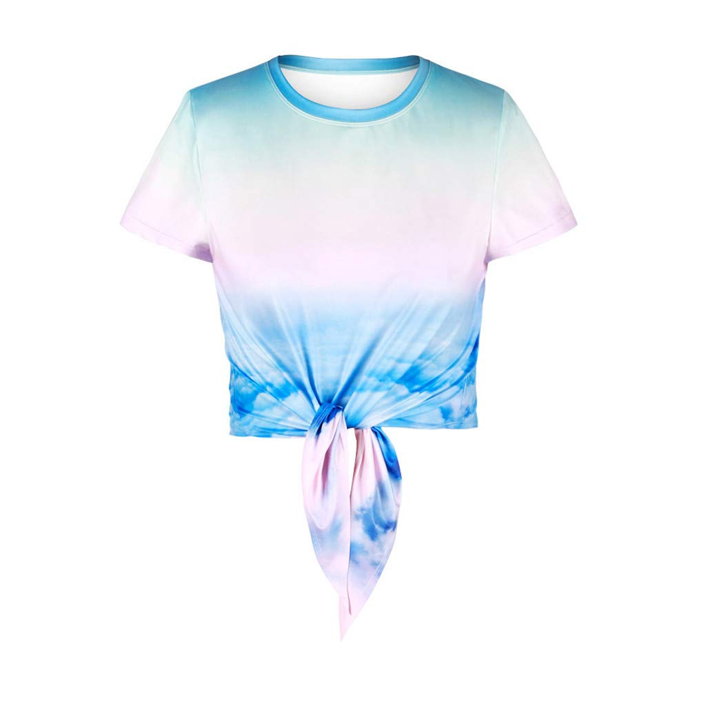 Jeramery Women's Casual Short Sleeve Tops O Neck Shirt Bandage Knot Summer Loose Tunic Tee Shirt Blouse Tops Blue