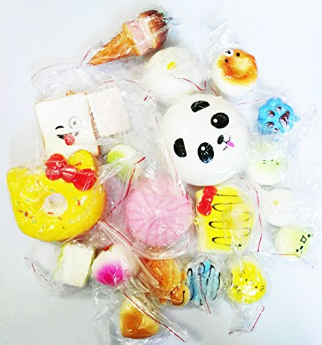 12PCS Jumbo Medium Mini Squishy Bread Scented Panda Toast Donuts Cone Turtle Kit (2)