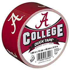 1.88 inch x 10 YD, Alabama college, duck tape, excellent for tailgating, repairs & fun, high performance strength & adhesion characteristics, tears easily by hand without curling & conforms to uneven surfaces, support your favorit...
