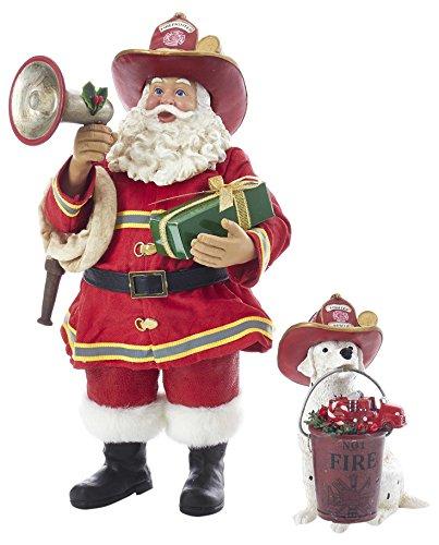 "Kurt S. Adler 10.5"" Fireman Santa with Dalmatian Figure (Set of 2), 2 Piece from Kurt Adler"