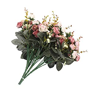 MARJON Flowers7 Branch 21 Heads Artificial Rose Silk Fake Flowers Home Party Wedding Decor Bouquet (Pink Coffee) 73
