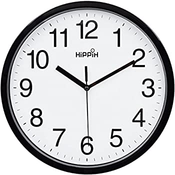 amazon universal 10451 whisper quiet clock 12 black white 5 AM Digital Clocks hippih 10 silent quartz decorative wall clock non ticking digital black