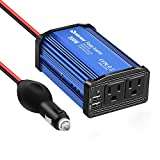 Quesvow Car Power Inverter 300W DC 12V to 110V AC Converter with 4.8A Dual USB Car Charger Adapter-Blue
