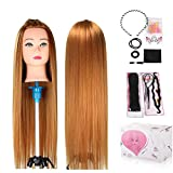 Mannequin Head, Beauty Star 24 Inch Long Gold Hair Cosmetology Mannequin Manikin Training Head Model Hairdressing Styling Practice Training Doll Heads with Clamp Stand and Accessories