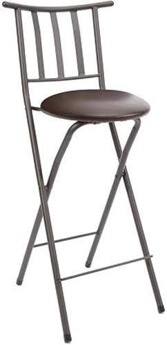 Home Furniture Sitting Bar Stool Bronze 30 Empress Metal Ladder Back Chair Microfiber cushion Folding feature Padded seat cushion 1, Espresso