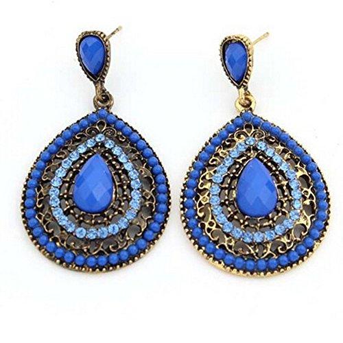 HeyGirl Women's Beaded Creative Palace Retro Resin Earrings(Blue)
