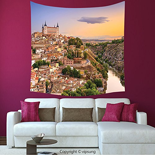 House Decor Square Tapestry-Wanderlust Decor Collection Toledo Spain Old City Over The Tagus River Downtown Castle Architectural Ancient Picture Ivory_Wall Hanging For Bedroom Living Room (Halloween City Toledo)