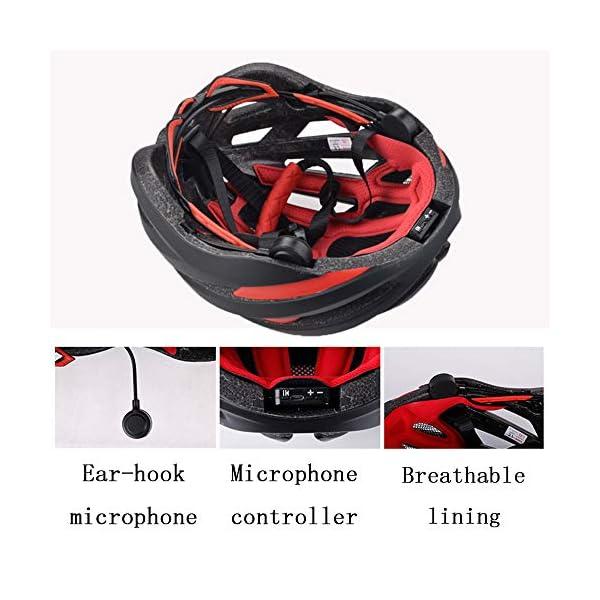 EDW Casco Bluetooth Intelligente per Bici Musica Chiamata Intelligence Cappellino di Sicurezza Equipaggiamento Protettivo Antiurto Leggero 5 Colori Incluso fanale Posteriore Staccabile,Whitered 4 spesavip
