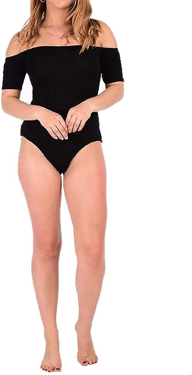 Rimi Hanger Ladies Basic Bardot Off Shoulder Viscose Bodysuit Womens Stretchy Leotard Top Small//Large