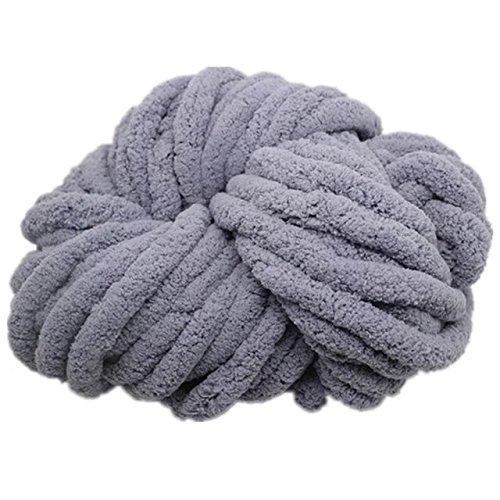 Celine lin Super Soft Chunky Roving Big Yarn for Hand Knitting Crochet, 250g(8.8 Ounze),Grey