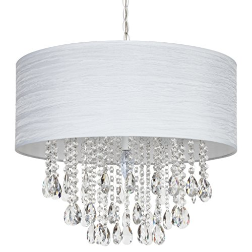 Amalfi Décor Large Luna 5 Light Crystal Chandelier with Drum Shade, Beaded Plug-in Pendant Ceiling Lighting Fixture (White) ()