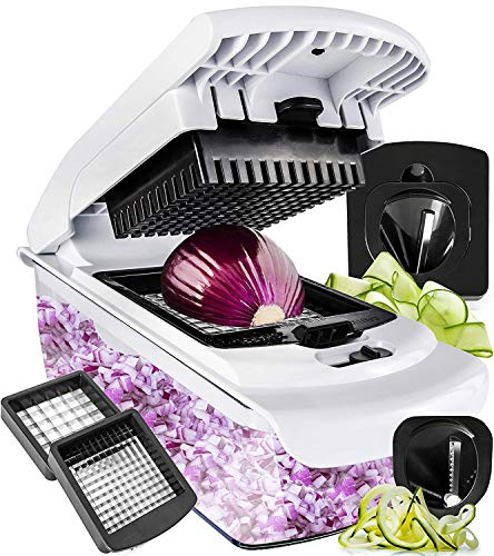 Kitchen Mandoline Collection - Fullstar Vegetable Chopper Spiralizer Vegetable Slicer - Slicer Dicer Onion Chopper - Vegetable Dicer Food Chopper Dicer Pro - Food Choppers and Dicers - Spiralizer Vegetable Cutter - Veggie Chopper
