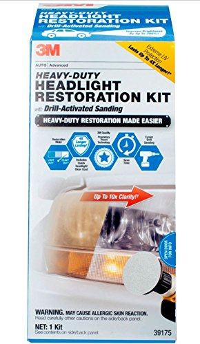3M 39175 Heavy Duty Headlight Restoration Kit (with Quick Clear Coat), 1 Pack (Best Wipe On Clear Coat For Cars)