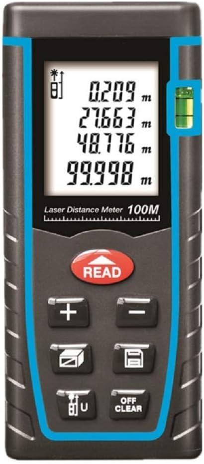 Ruixf Medidor Laser de Distancia, 100M Profesional Metro Laser,Telemetro Laser con Precisión 2mm, Niveles de Burbuja