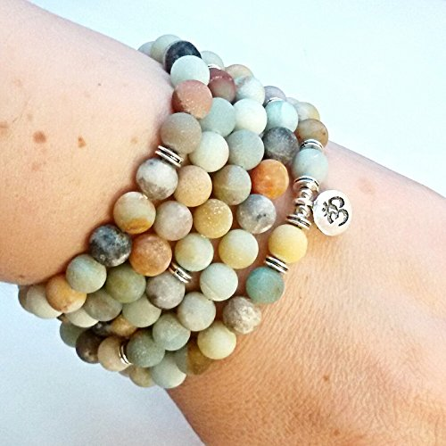 Zhepin 8MM Amazonite 108 Mala Beads Charm Bracelet for Men Women Yoga Bracelet Necklace by Zhepin (Image #6)