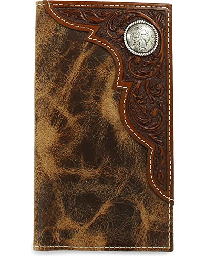 (Ariat Men's Distressed Corner Over Circle Rodeo Wallet, tan, One Size )