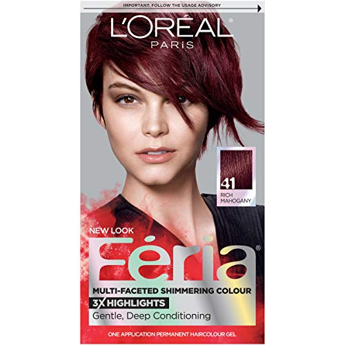 - L'Oréal Paris Feria Multi-Faceted Shimmering Permanent Hair Color, 41 Crushed Garnet (Rich Mahogany), 1 kit Hair Dye