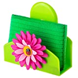 Vigar Flower Power Sponge Holder With Suction Pad, 5-Inches by 2-3/4-Inches, Pink, Green