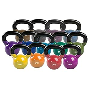 SPRI Kettlebell Weights Deluxe Cast Iron Vinyl Coated Comfort Grip Wide Handle Color Coded Kettlebell Weight Set (Available in 5, 8, 10, 12, 15, 18, 20, 25, 30, 35, 40, 45, 50 Pounds)