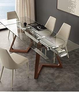 Tavolo Design con piano in Vetro TEMPERATO trasparente e base in ...