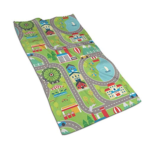 - SWATLOGR Cartoon Design Summer City Amusement Park Face Towel,Hand Towel,Kitchen Towels-Dish 3D Design Pattern Towel,Towels for The Kitchen,Cleaning,Cooking,Baking,Dishwashing Towel 15.7x27.5in