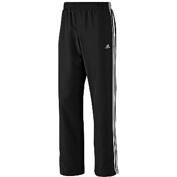 adidas Men's Essentials 3-Stripes Woven Open Hem Pant - Black/White, X