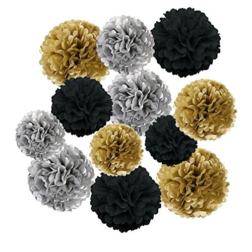 Wartoon Tissue Paper Pom Poms Flowers for Wedding Birthday Party Baby Shower Decoration, 12 pieces - Black, Gold and Silver - Gold Silver Flowers
