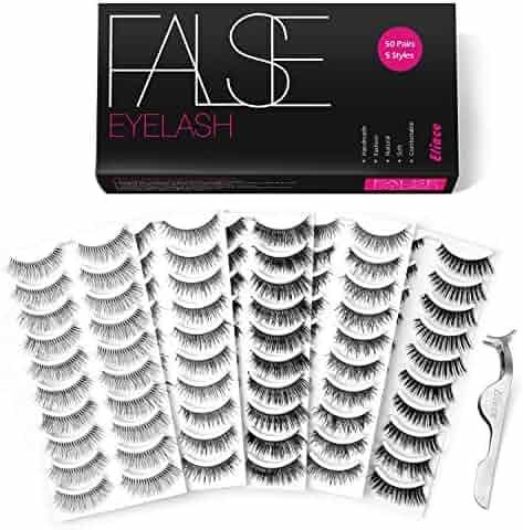 Eliace 50 Pairs 5 Styles Lashes Handmade False Eyelashes Set Professional Fake Eyelashes Pack,10 Pairs Eyes Lashes Each Style,Very Natural Soft and Comfortable,With Free EyeLash Tweezers