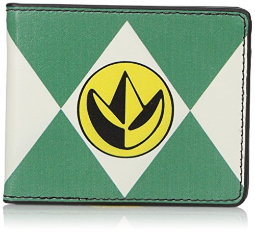 Buckle-Down Men's Wallet Diamond Green Ranger Dragonzord Power Logo Accessory, -Multi, One Size (Power Rangers Dragonzord Costume)