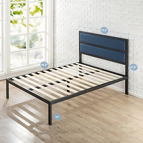 Zinus 16 Inch Platform Bed/Metal Bed Frame/Mattress Foundation with Tufted Navy Panel Headboard/No Box Spring Needed/Wood Slat Support, King