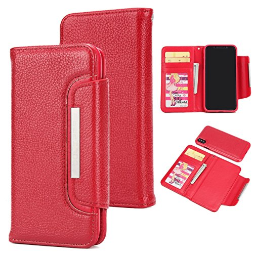 iPhone Slots in Cash Purple Case Red Wallet KelaSip Flip 3 1 Wallet Cover Warehouse Leather Removable Magnetic Built Case Buckle Xs Card Phone X Closed RwYqBdP