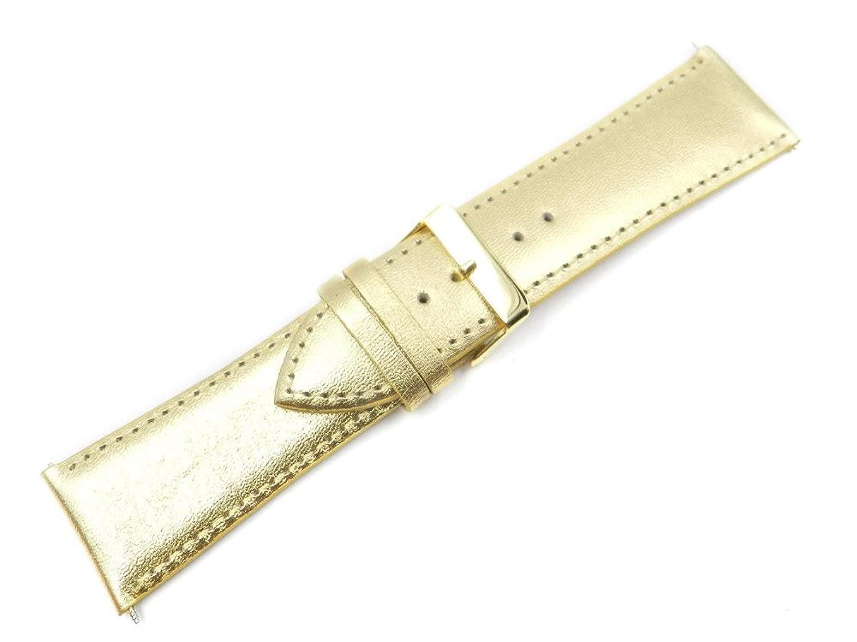 時計バンドゴールドメタリック本革28ミリメートル  B01MZ4E71I