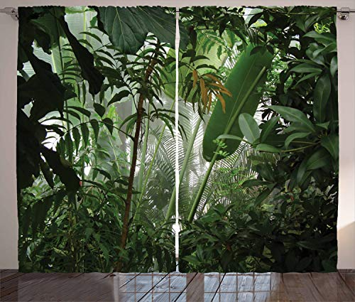 Ambesonne Rainforest Curtains, Tropical Rainforest Preservation Humidity Palm Tree Wild Environment Misty Nature, Living Room Bedroom Window Drapes 2 Panel Set, 108 W X 90 L Inches, Green