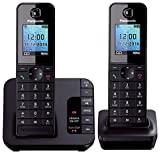 Panasonic KX-TGH222 Digital Cordless Phone with Colour LCD - Black, Pack of 2