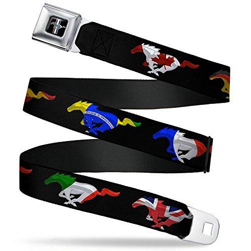 (Buckle-Down Seatbelt Belt - Mustang Silhouette Black/International Flags - 1.0