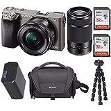 Sony Mirrorless a6000 Digital Camera 2 Lens Kit Bundle, 3 LCD, Graphite + 64GB Bundle