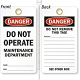 Do Not Operate Maintenance Department, Heavy Duty 15 mil thick Vinyl Tag, 25 Tags / Pack, 3.25'' x 6''