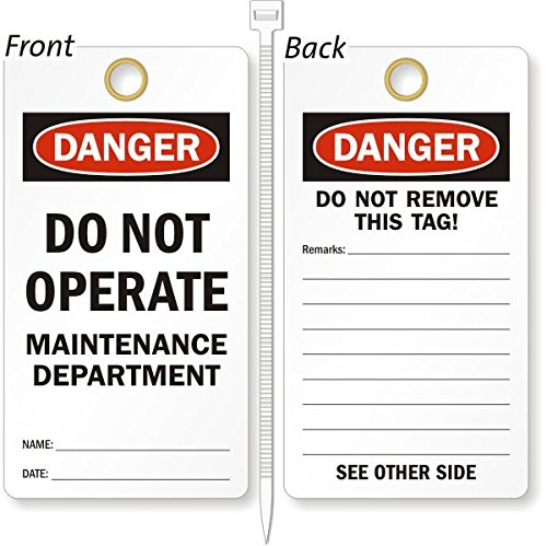 Do Not Operate Maintenance Department, Heavy Duty 15 mil thick Vinyl Tag, 25 Tags / Pack, 3.25'' x 6'' by LockoutTag