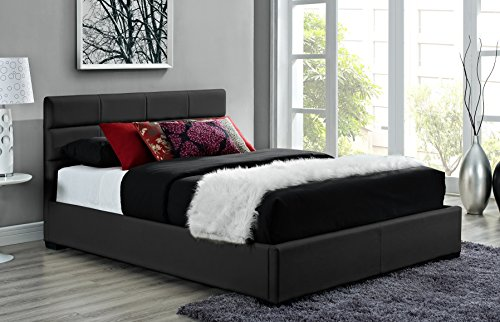DHP Modena Faux Leather, Black Upholstered Bed with Wooden Slats Included, Queen