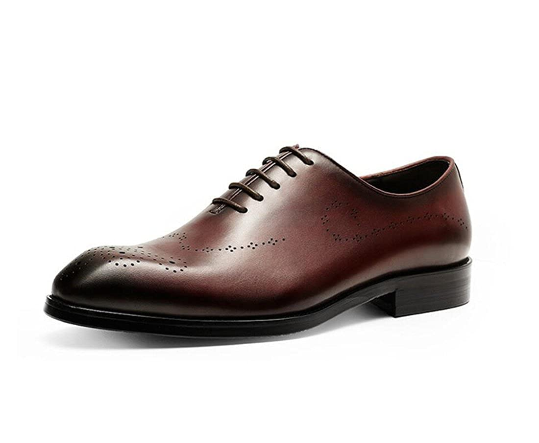 DANDANJIE Herren Lederschuhe Sommer Klassische Schuhe British Spitzschuh Lace up Leder Hochzeitsschuhe