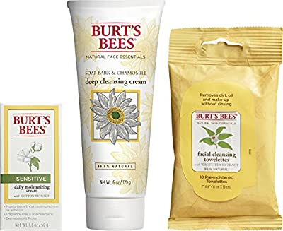 Burt's Bees Basic Face Care Kit, 3 Skin Care Products - Cleansing Towelettes, Deep Cleansing Cream and Sensitive Daily Moisturizing Cream