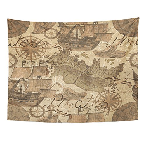 TOMPOP Tapestry Old Ships and Pirate Map in Sepia Tone Transportation Vintage Watercolor Graphic Doodle Drawings Home Decor Wall Hanging for Living Room Bedroom Dorm 60x80 Inches